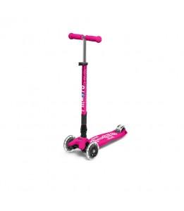 Maxi Micro Deluxe zložljiv z LED kolesi rožnata
